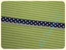 Schrägband mit Häkelborte Punkte dunkelblau