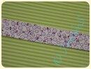 Schrägband Blumen weiß/flieder