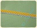 Schrägband mit Häkelborte Punkte gelb
