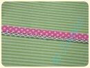 Schrägband mit Häkelborte Punkte rosa dunkel