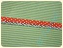 Schrägband mit Häkelborte Punkte orange