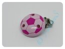 "Schnullerkettenclips ""Fußball"" rosa/pink"
