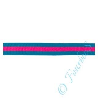 Streifenband petrol/pink 2,5cm