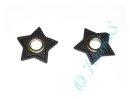 2 Ösen auf Kunstleder Stern schwarz 8mm silber
