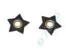 2 Ösen auf Kunstleder Stern schwarz 8mm bronze