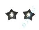 2 Ösen auf Kunstleder Stern schwarz 8mm altsilber