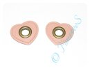 2 Ösen auf Kunstleder rosa Herz 8mm bronze