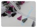 Quastenborte grau/schwarz/pink