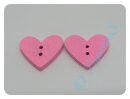 """Holzknopf  """"Herz"""" pink  ca. 20mm"""