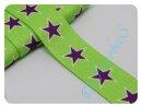 Gurtband 30mm Sterne grün/lila