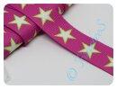 Gurtband 30mm Sterne pink/weiß