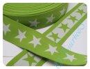 Gummiband 4 cm Sterne grün/weiß