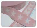 Gummiband 4 cm Sterne rosa/weiß