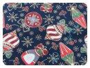 Weihnachtskugeln dunkelblau - Webware
